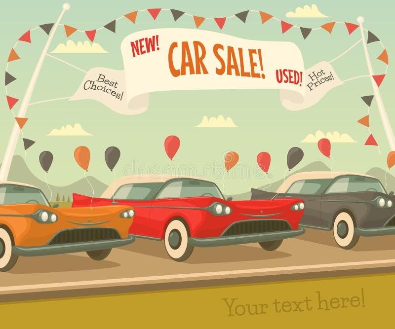 Rétro vente de voiture illustration de vecteur