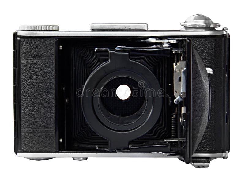 Rétro vieil appareil-photo de photo sur le fond blanc Vue de face, sans lentille image libre de droits