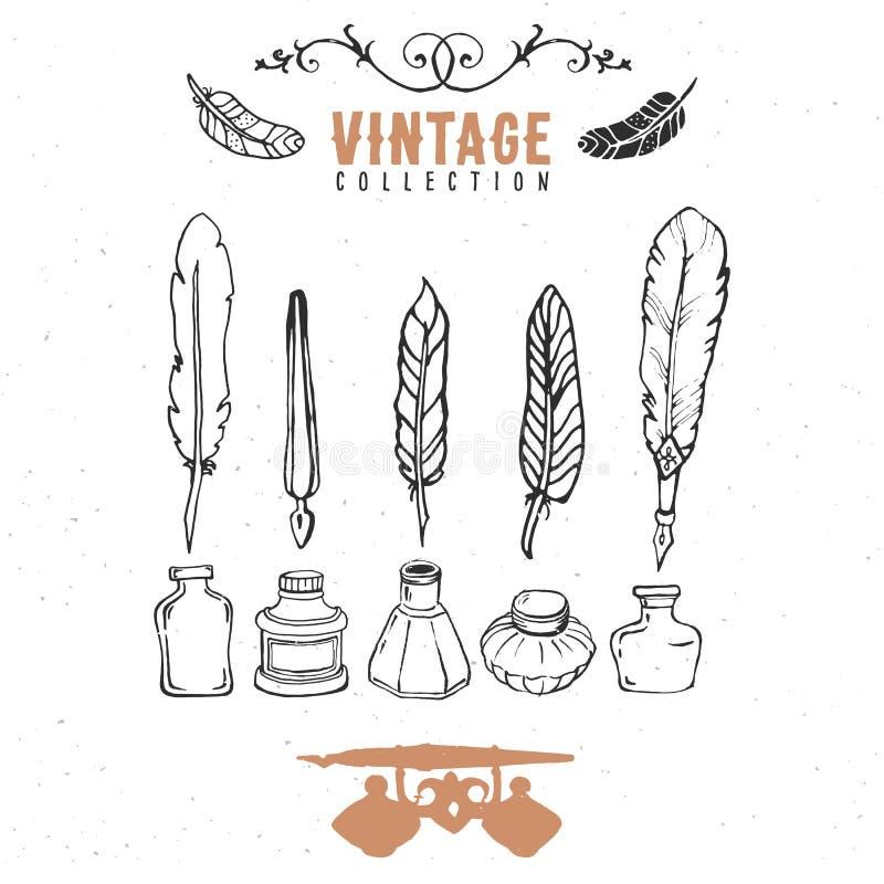 Rétro vieille collection d'encre de plume de stylo de graine de vintage Vecteur tiré par la main illustration stock