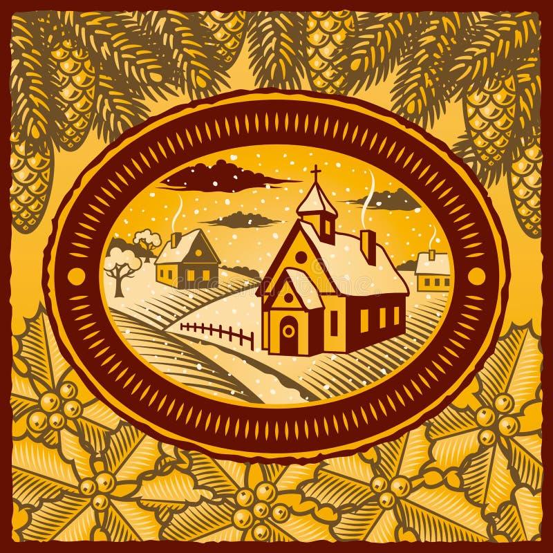 Rétro village de l'hiver illustration libre de droits