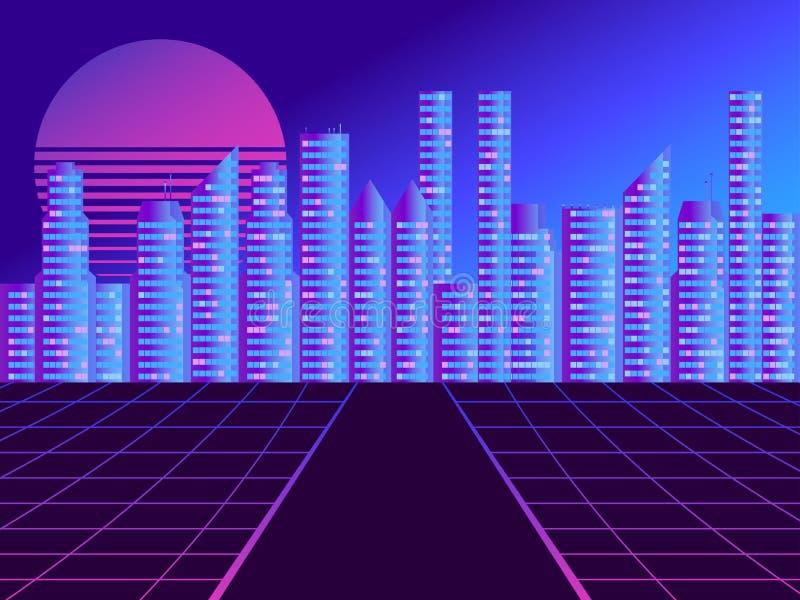 Rétro ville futuriste dans le style des années 80 Cyberpunk et rétro style de vague Paysage urbain des futurs megapolis contre illustration stock