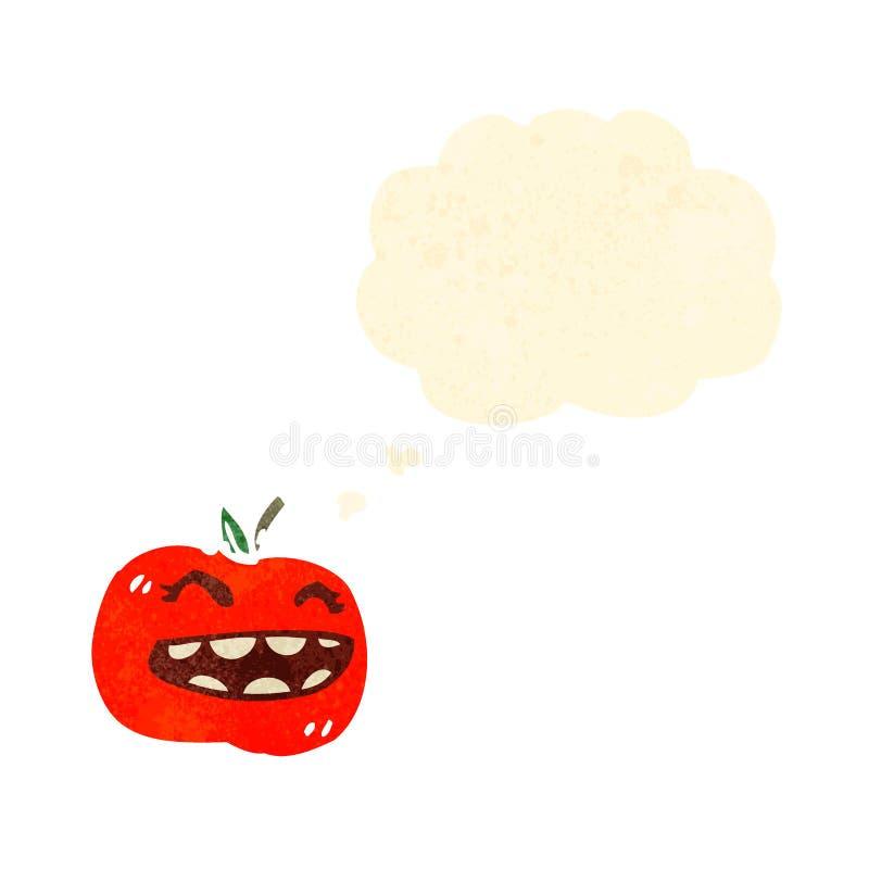 rétro visage de tomate de bande dessinée illustration de vecteur