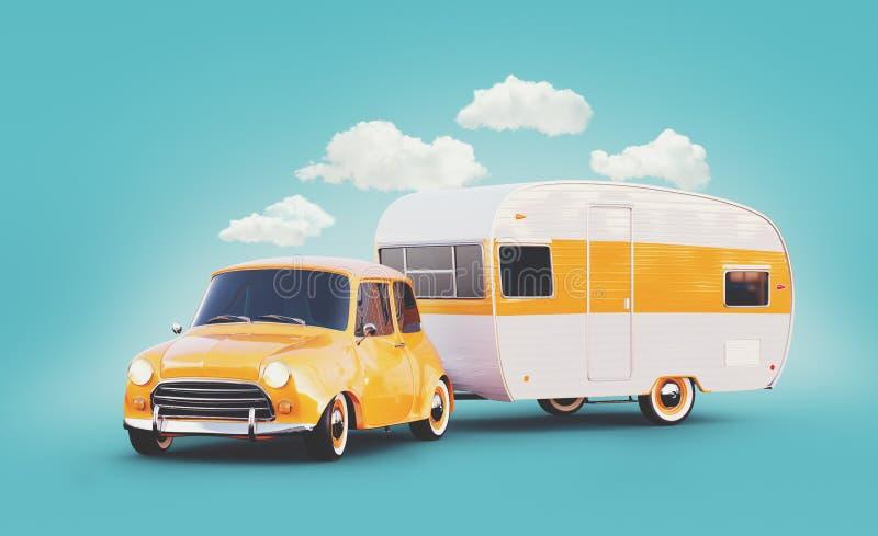 Rétro voiture avec la remorque blanche Illustration 3d peu commune d'une caravane classique Concept campant et de déplacement illustration libre de droits