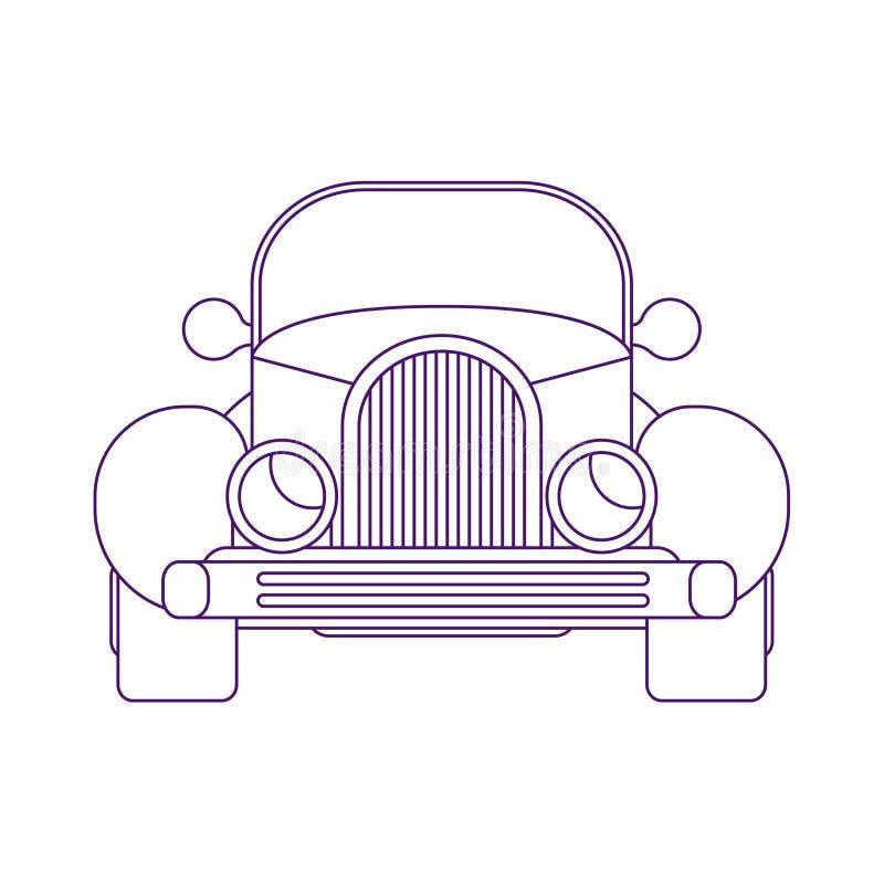 Rétro voiture chaude de route Roadster d'Américain de vue de face Illustration linéaire de vecteur illustration de vecteur