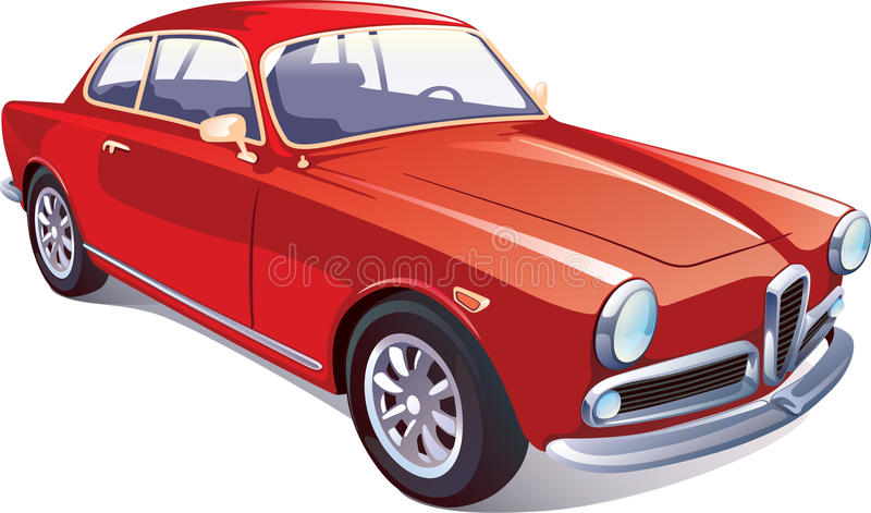 Rétro voiture classique rouge illustration stock