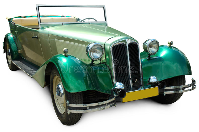 Rétro voiture covertible verte classique images libres de droits