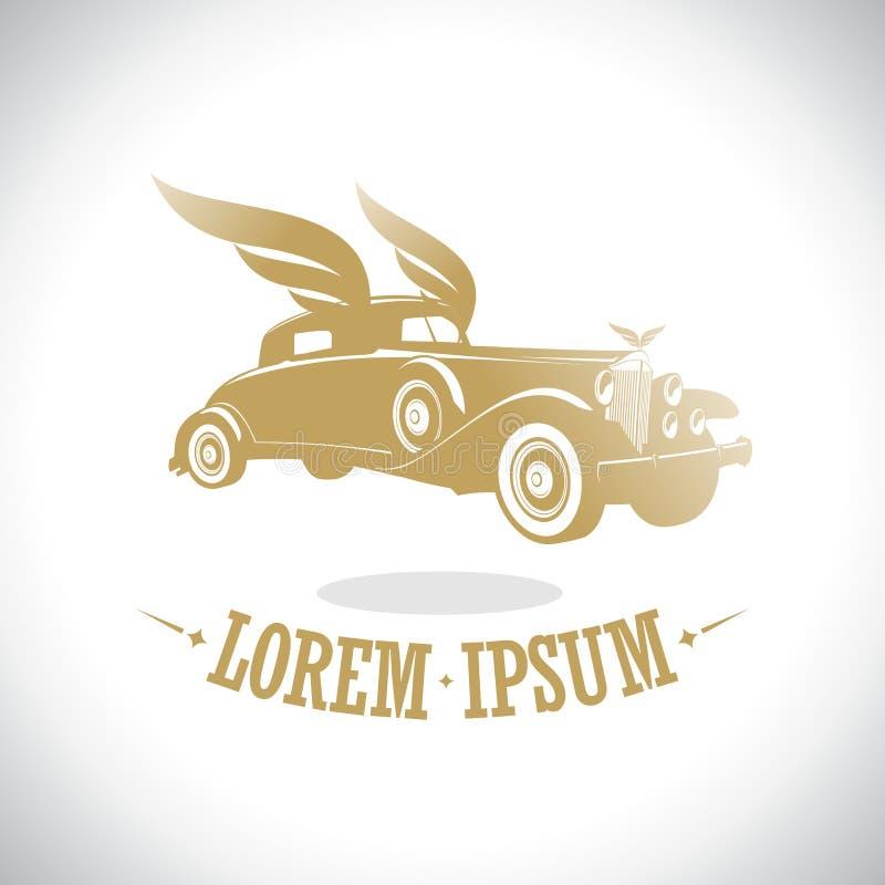 Rétro voiture d'or avec le logo d'ailes illustration libre de droits