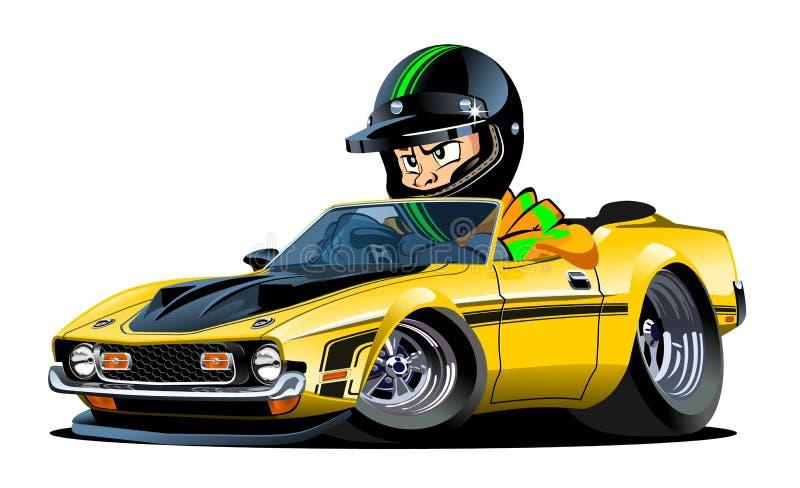 Rétro voiture de sport de bande dessinée avec le conducteur d'isolement illustration de vecteur
