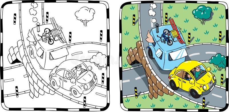 Download Rétro Voiture Jaune Avec La Remorque Livre De Coloration Illustration de Vecteur - Illustration du replacez, route: 45356836