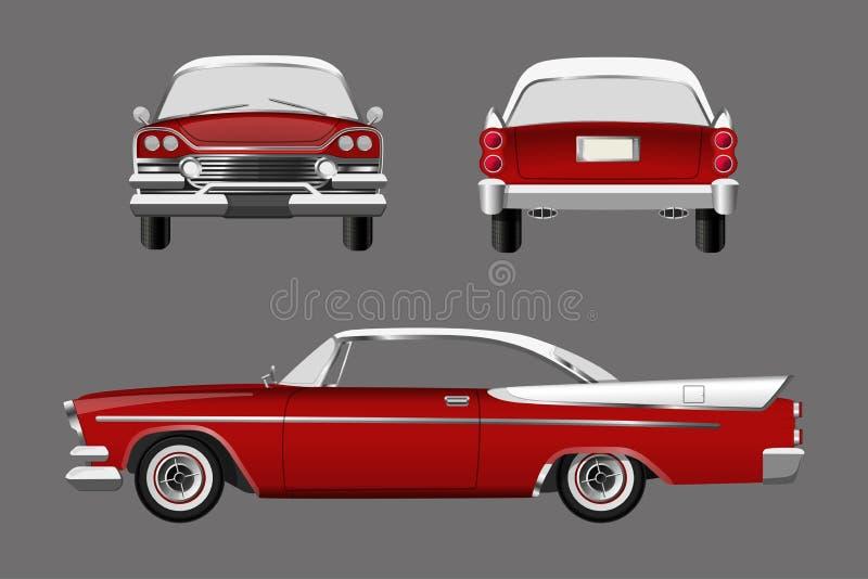 Rétro voiture rouge sur le fond gris Cabriolet de vintage dans un style réaliste Avant, côté et vue arrière illustration libre de droits