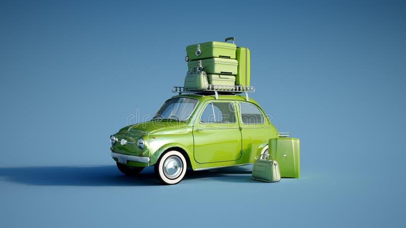 Rétro voiture sur un vert bleu de voyage illustration de vecteur