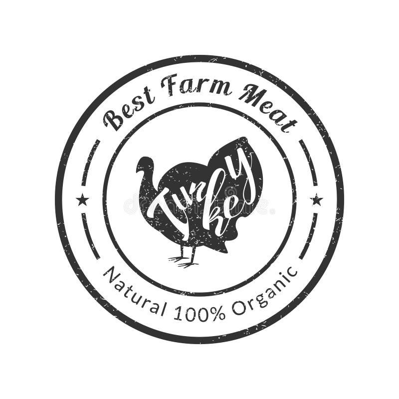 Rétro volaille Logo Template, insigne de la meilleure de ferme qualité de la meilleure qualité de viande avec la Turquie pour la  illustration de vecteur