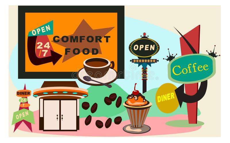 Rétro wagon-restaurant 50s illustration de vecteur