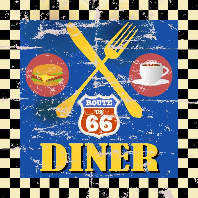 Rétro wagon-restaurant de l'itinéraire 66 illustration stock
