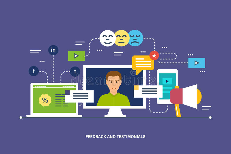 Rétroaction, commentaires et estimation, témoignages, comme, communication et commentaires de technologie illustration libre de droits