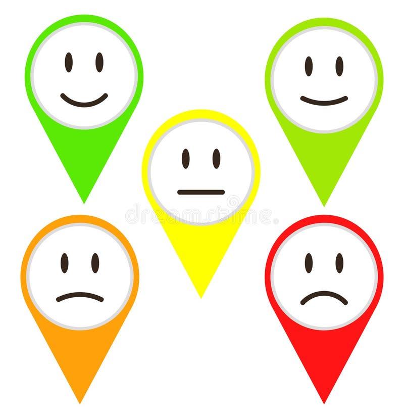 Rétroaction de 5 visages de couleur/humeur, illustration courante de vecteur illustration stock
