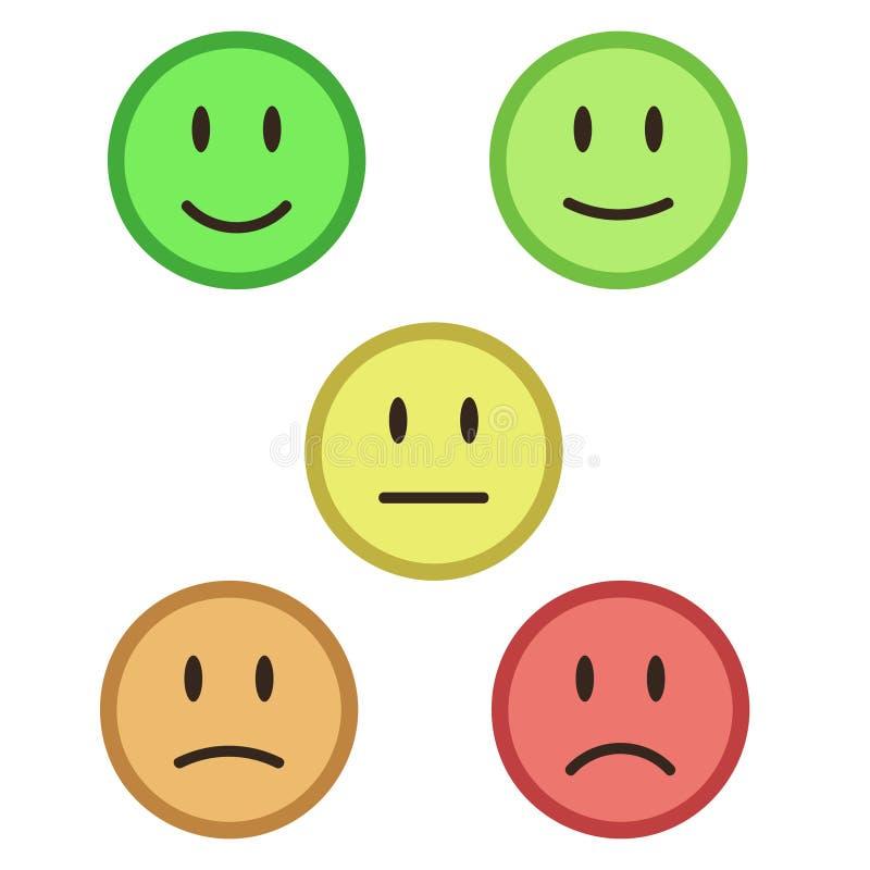Rétroaction de 5 visages de couleur/humeur, illustration courante de vecteur illustration de vecteur