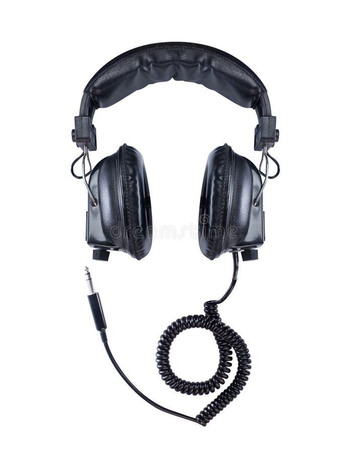 Rétros écouteurs sur le fond d'isolement par blanc images libres de droits