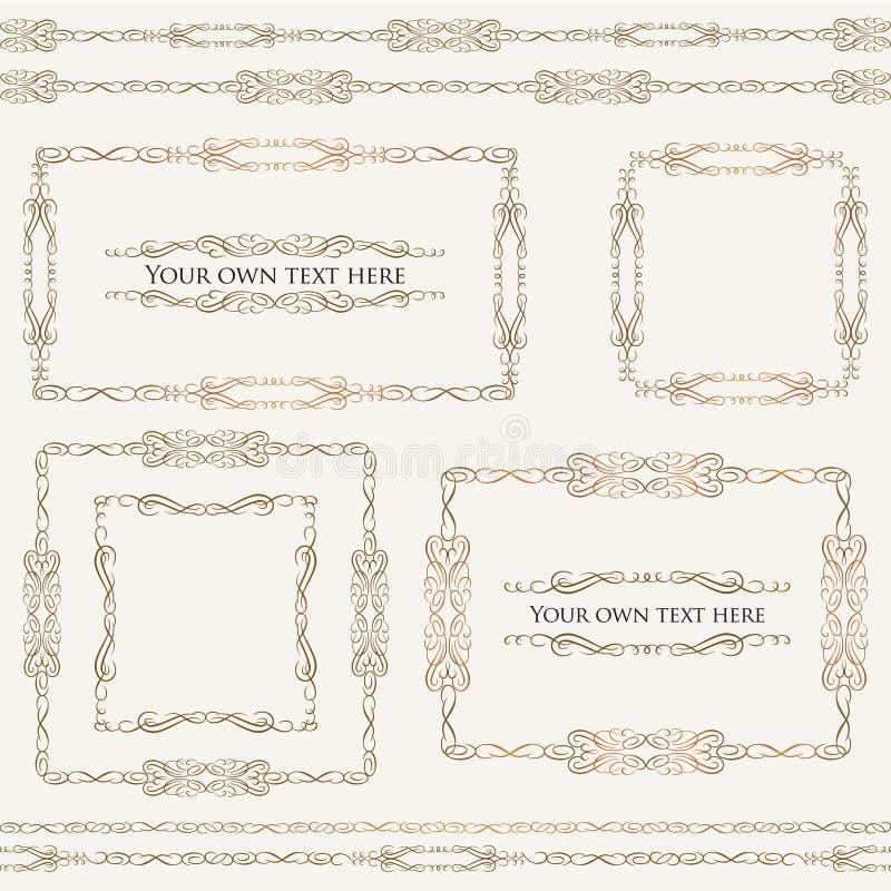 Rétros éléments calligraphiques pour la décoration de page. Ensemble de vecteur illustration de vecteur