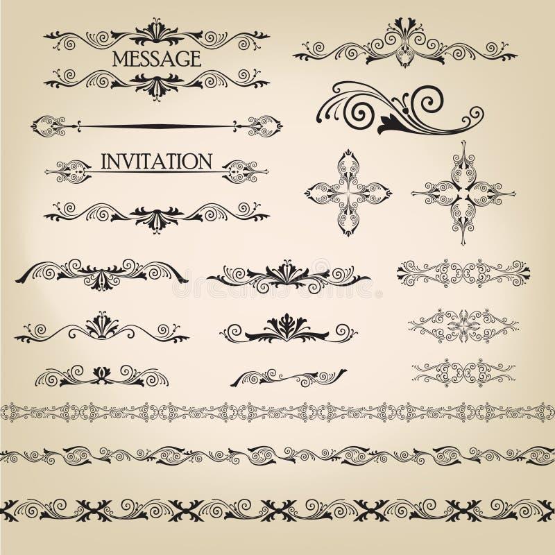 Rétros éléments calligraphiques pour la décoration de page. Ensemble de vecteur illustration libre de droits