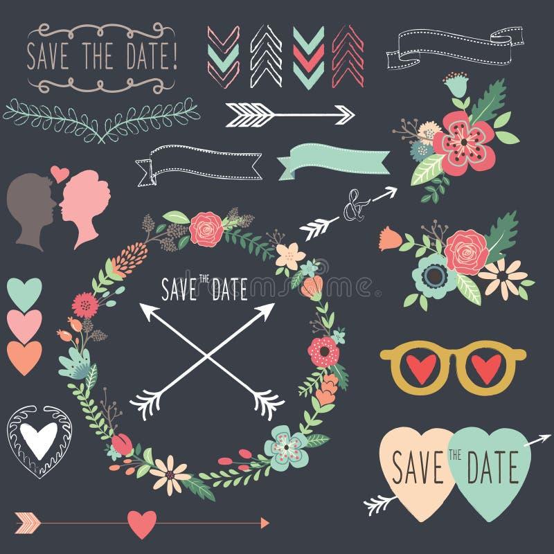 Rétros éléments de conception de mariage de tableau illustration libre de droits