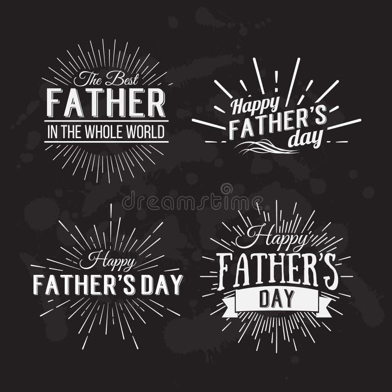 Rétros éléments pour les conceptions calligraphiques du jour de père Vintage ou illustration libre de droits