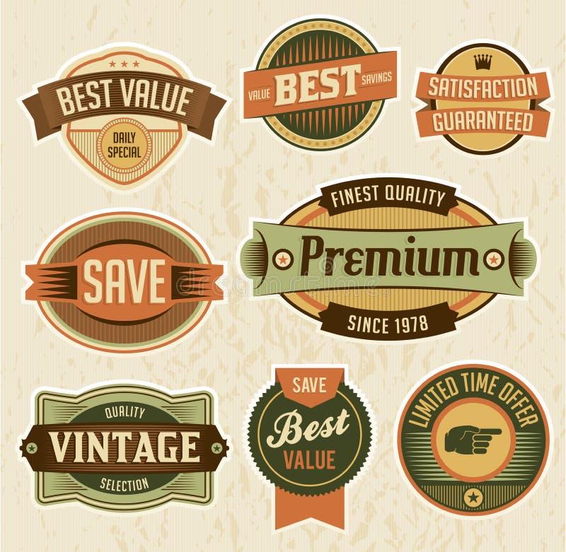 Rétros étiquettes et insignes d'affaires illustration stock