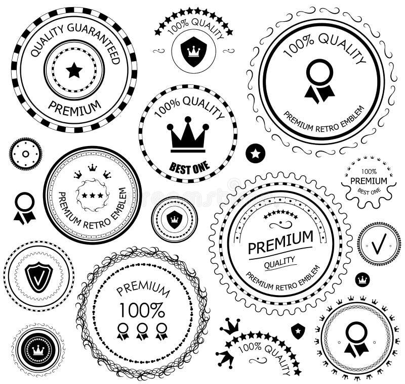 Rétros étiquettes noires de garantie de qualité de cru illustration stock