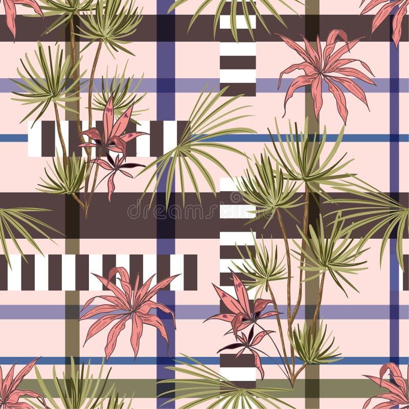 Rétros arbres tropicaux et feuilles de plam mélangés à la rayure géométrique illustration libre de droits