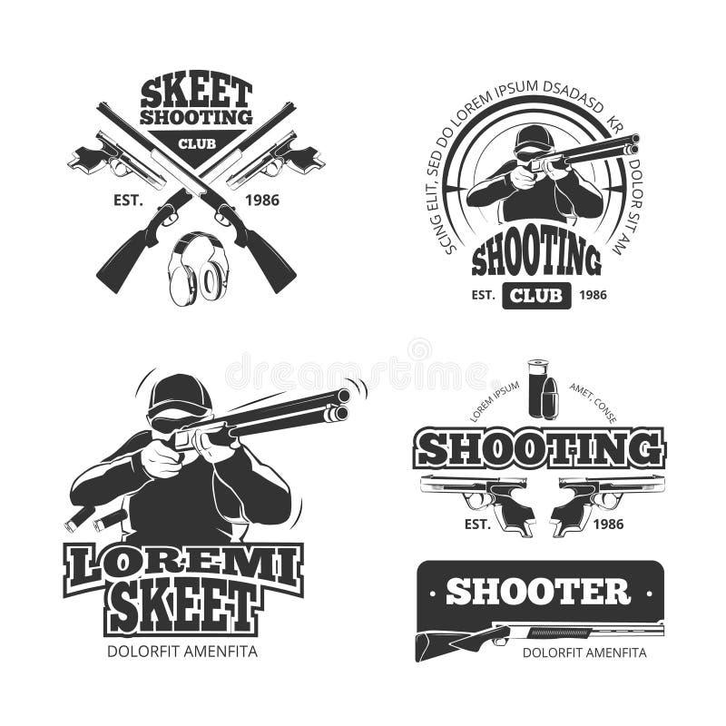 Rétros armes, labels de tir de vecteur, emblèmes, insignes, logos illustration de vecteur