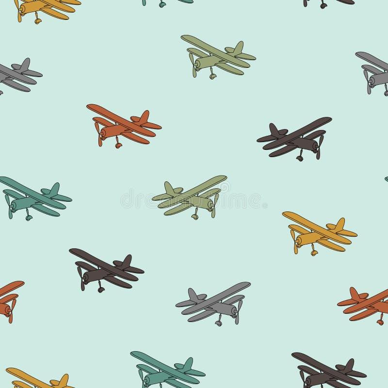 Rétros avions dans modèle sans couture de différentes couleurs à la mode illustration stock