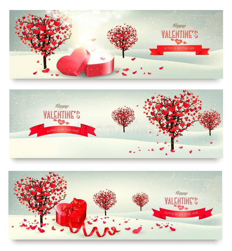 Rétros bannières de vacances Arbres de Valentine avec les feuilles en forme de coeur illustration de vecteur