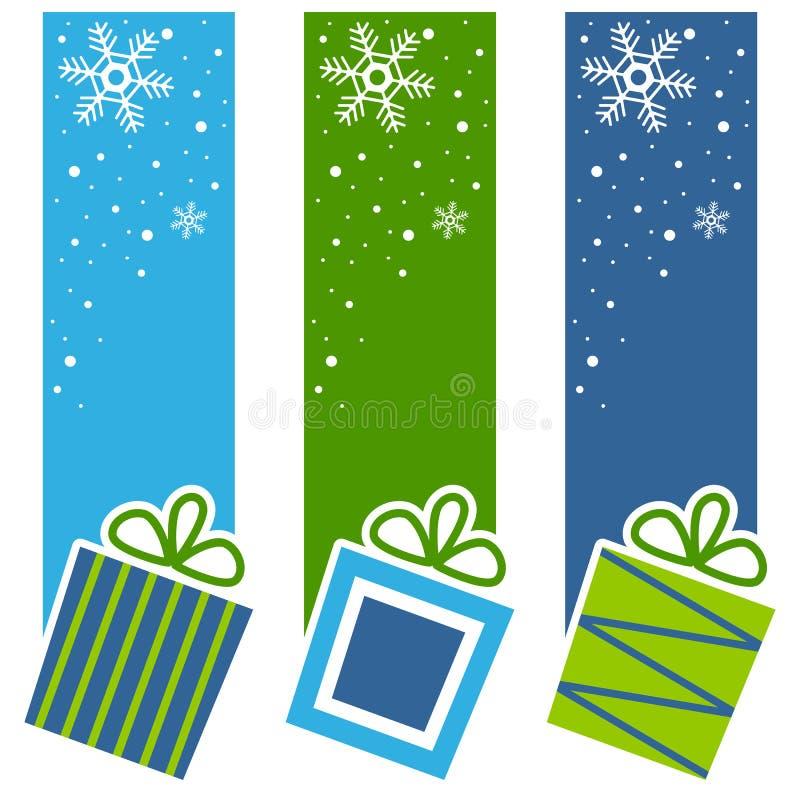 Rétros bannières de verticale de cadeaux de Noël illustration stock