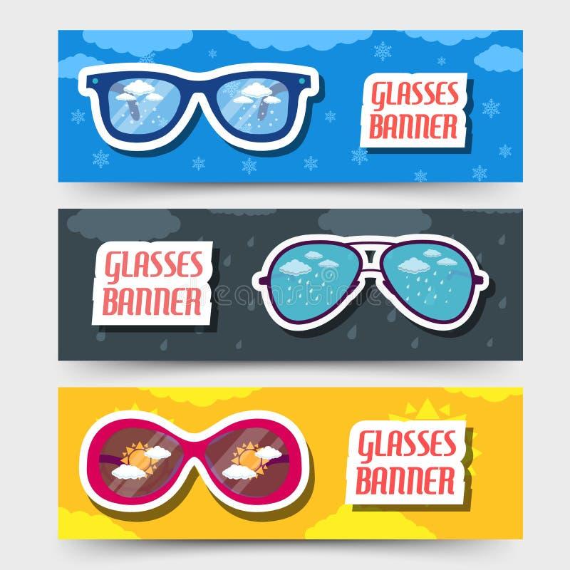 Rétros bannières en verre Conception d'illustration de vecteur