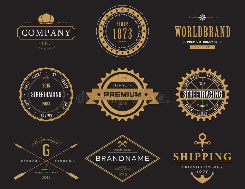 Rétros bannières et labels pour le logotype de société illustration de vecteur