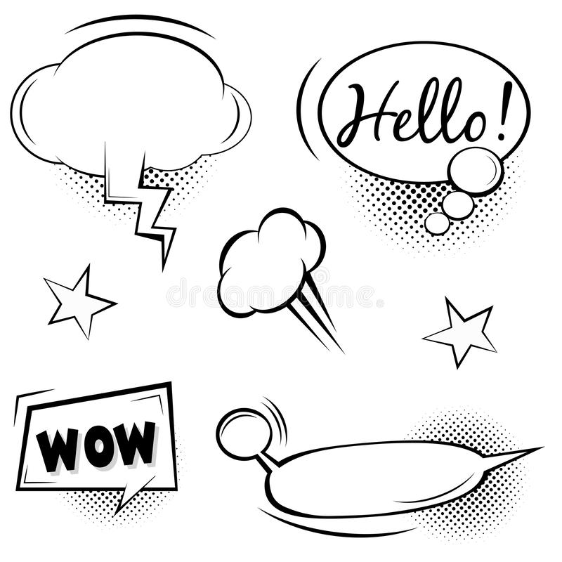 Rétros bulles comiques et ensemble d'éléments avec les ombres tramées noires sur le fond transparent illustration stock