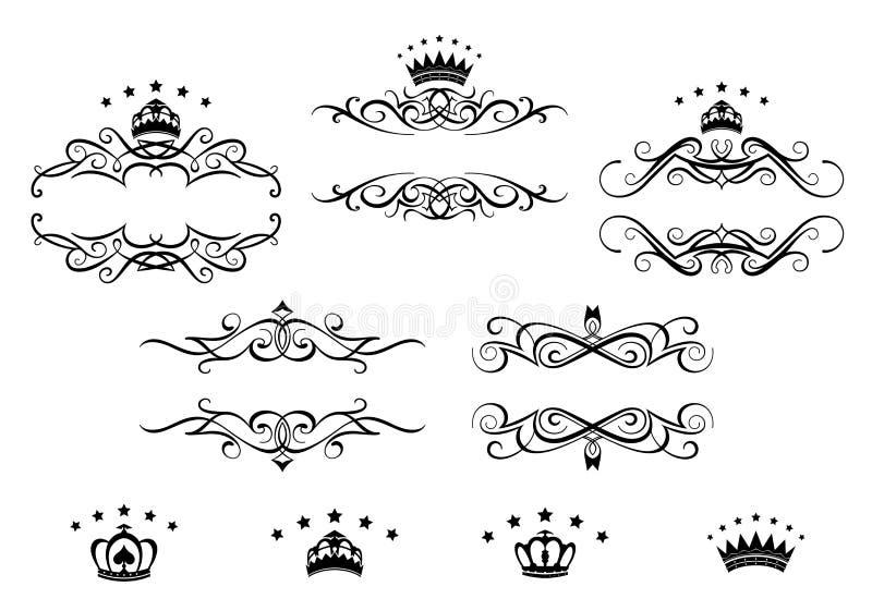 Rétros cadres réglés avec les couronnes royales illustration de vecteur