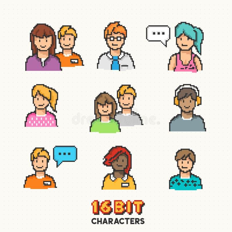 Rétros caractères de 16 bits de personnes illustration de vecteur