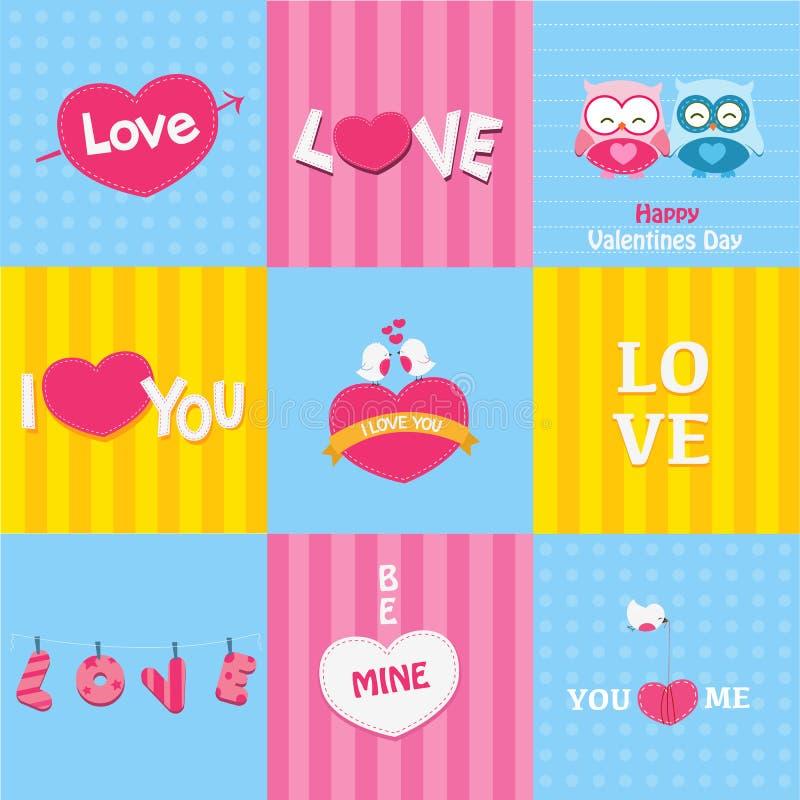 Rétros cartes d'amour illustration libre de droits
