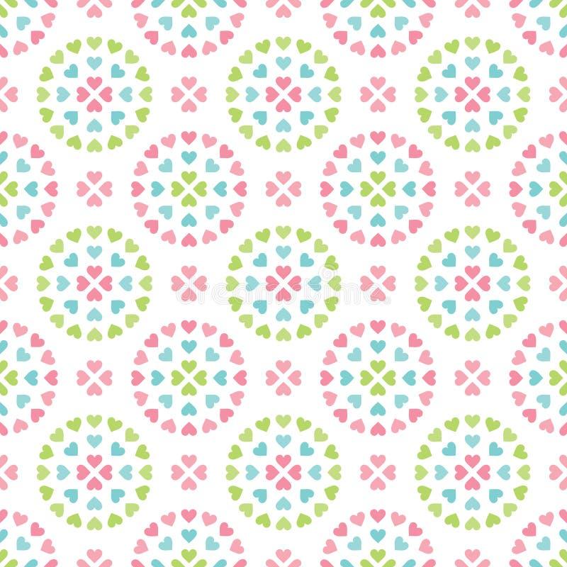 Rétros cercles en pastel sans couture mignons de fond de coeur illustration libre de droits