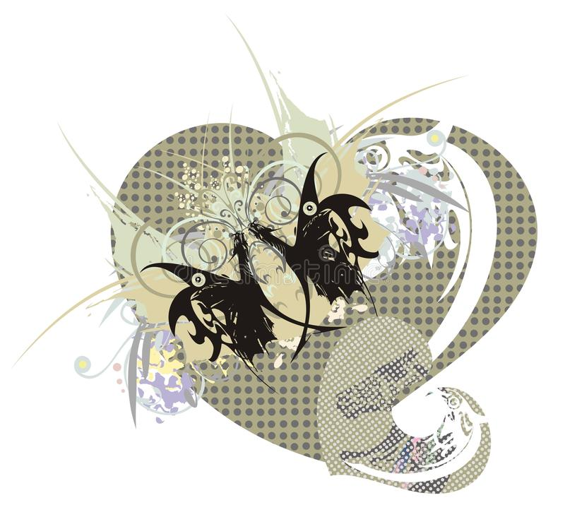 Rétros coeurs avec le papillon de dragon illustration de vecteur