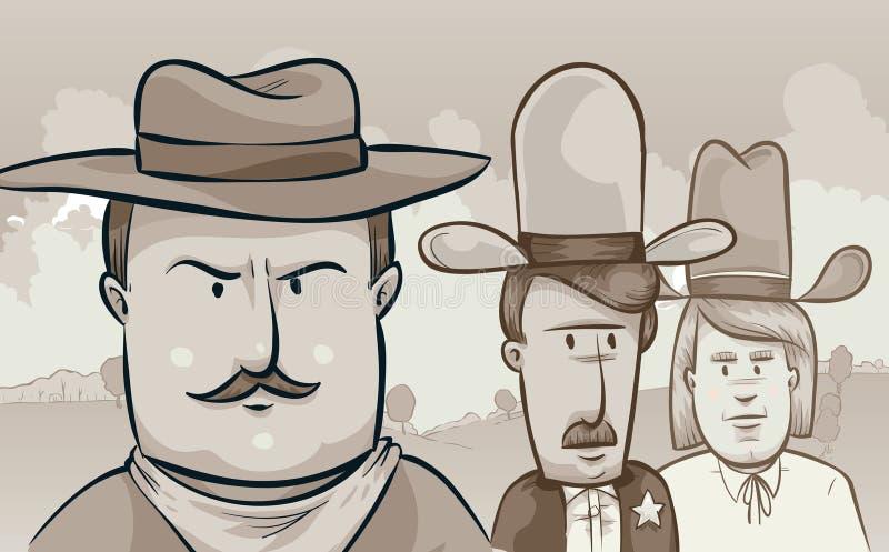 Rétros cowboys illustration de vecteur