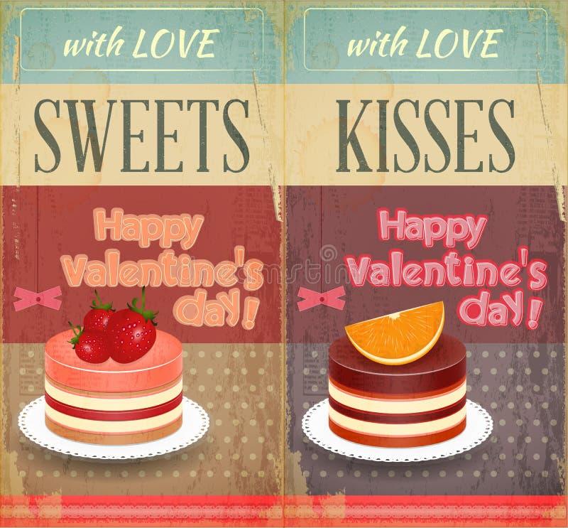 Rétros deux cartes de cru au jour de Valentines illustration stock