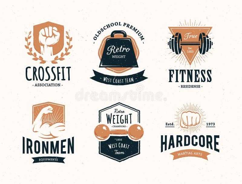 Rétros emblèmes de forme physique illustration stock