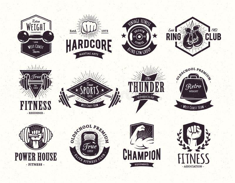 Rétros emblèmes de forme physique illustration libre de droits