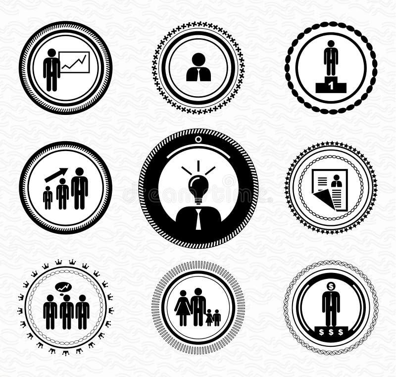 Rétros estampilles de cru : ressources humaines illustration stock
