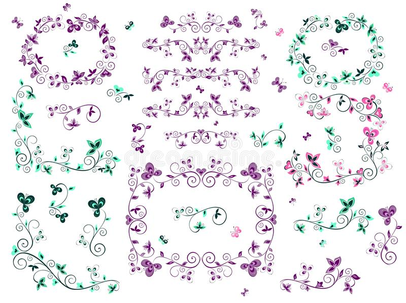 Rétros frontières florales illustration stock
