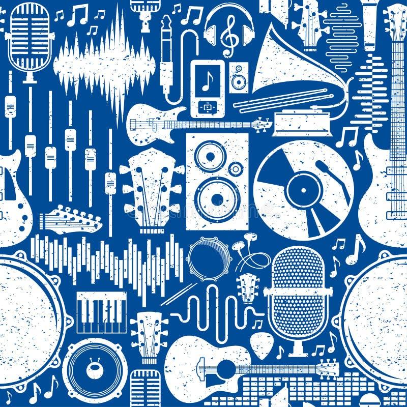Rétros icônes dénommées modèle ou fond sans couture de musique de vecteur illustration de vecteur