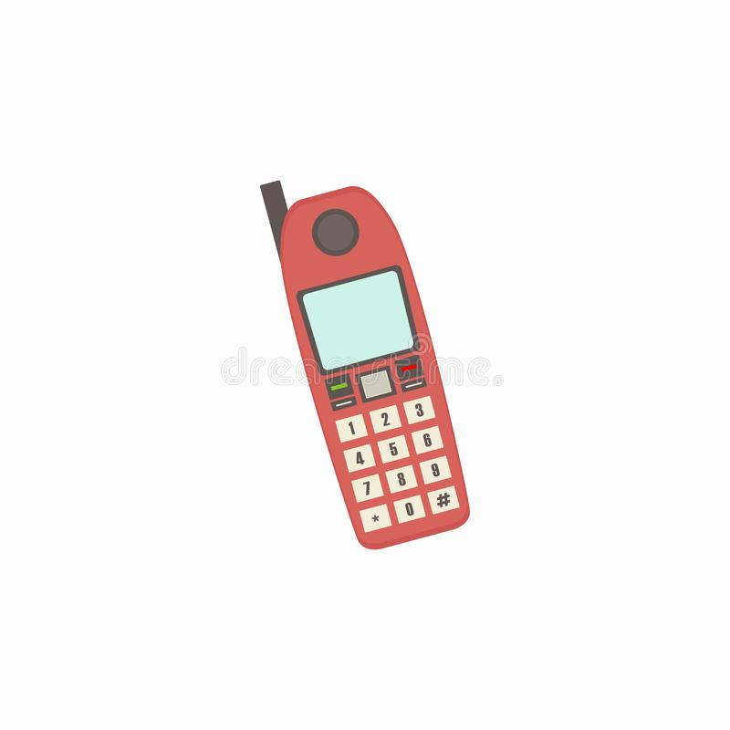 Rétros icônes de téléphone, téléphone rouge Fond blanc Illustration de vecteur ENV 10 illustration libre de droits