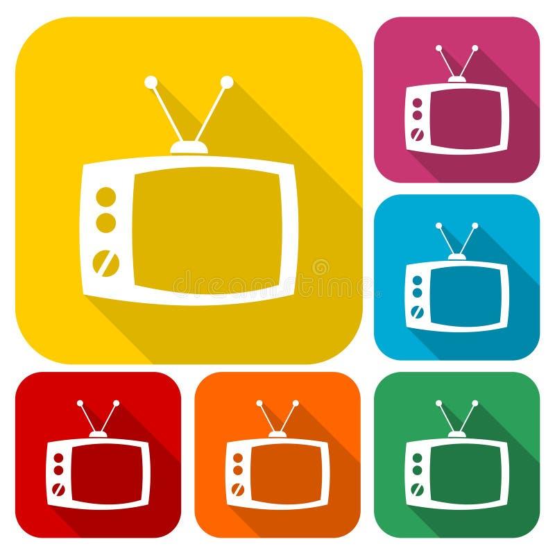 Rétros icônes de TV réglées avec la longue ombre, 6 couleurs incluses illustration libre de droits